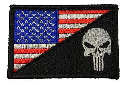 USA FLAG PUNISHER SKULL FLAG U.S ARMY EMBROIDERED MORALE TACTICAL PATCH