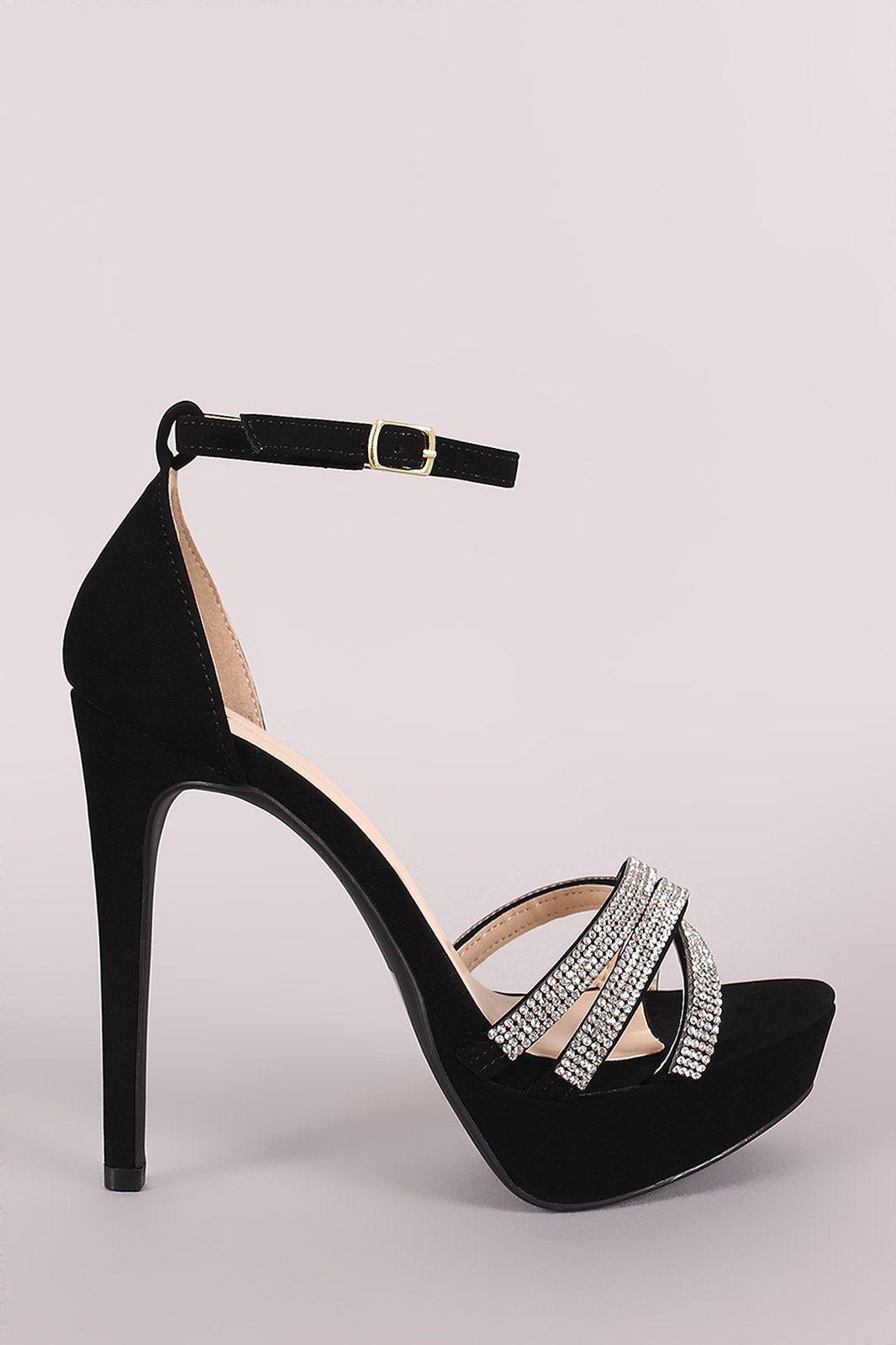 1dd790dc31c Qupid Nubuck Rhinestone Ankle Strap Stiletto Platform Heel | Shoes ...