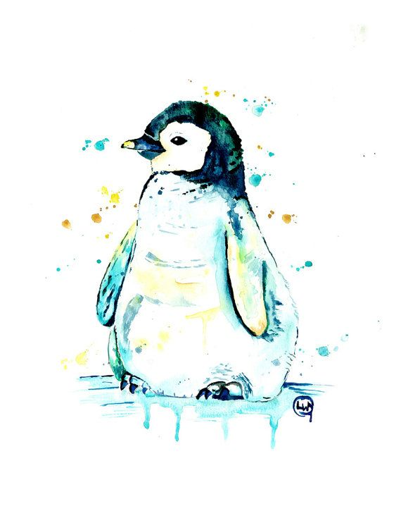 Penguin Print Penguin Watercolour Penguin Baby Penguin Art