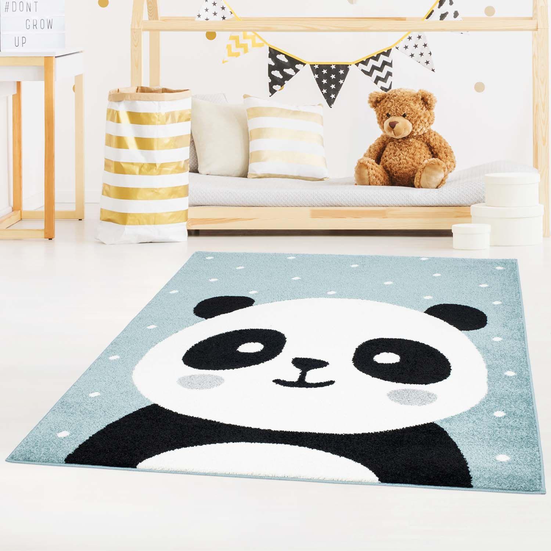 Ma/ße:120x170 cm Kinderteppich Kinderzimmer Babyzimmer Niedlicher Elefant Grau Blue Weis Oeko Tex