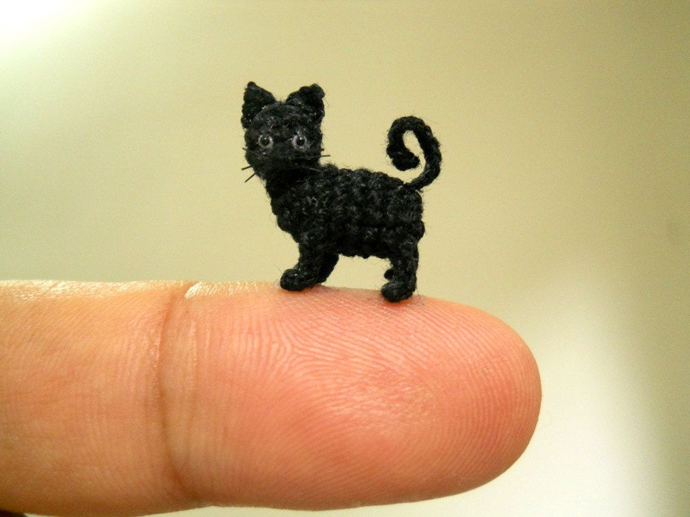 Amigurumi Kitten Patterns : Miniature black cat inch micro mini amigurumi crochet cat