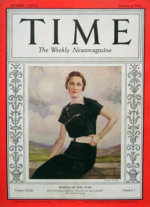 """In 1936, Time honored Wallis Simpson's major coup of getting Edward to abdicate his throne by naming her """"Woman of the Year,"""" the first time the magazine had ever given its """"Man of the Year"""" award to a woman. She didn't sneak past a field of slackers to get the honor, either; the other finalists included FDR, Mussolini, Eugene O'Neill, Chiang Kai-shek, British Prime Minister Stanley Baldwin, Lou Gehrig, Jesse Owens, and Margaret Mitchell."""