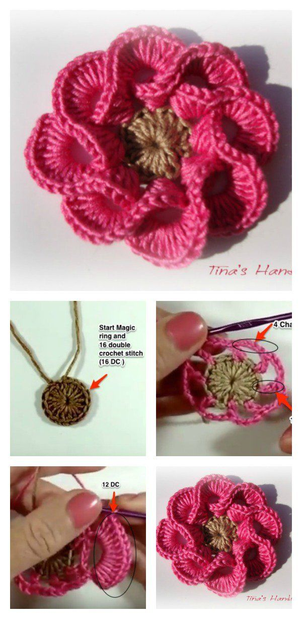 How To Crochet 3d Flowers With Multi Petals Tricot Facile