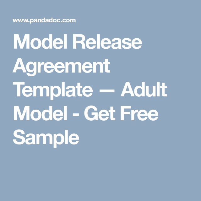 Model Release Agreement Template  Adult Model  Get Free Sample
