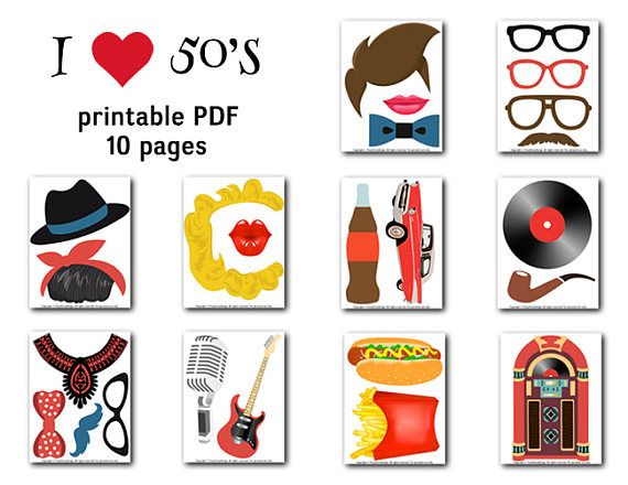 Printable 50s Photo Booth Props 1950s Party Photo Booth Props