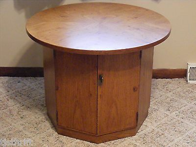Vintage wood octagon round top side end table with storage cabinet