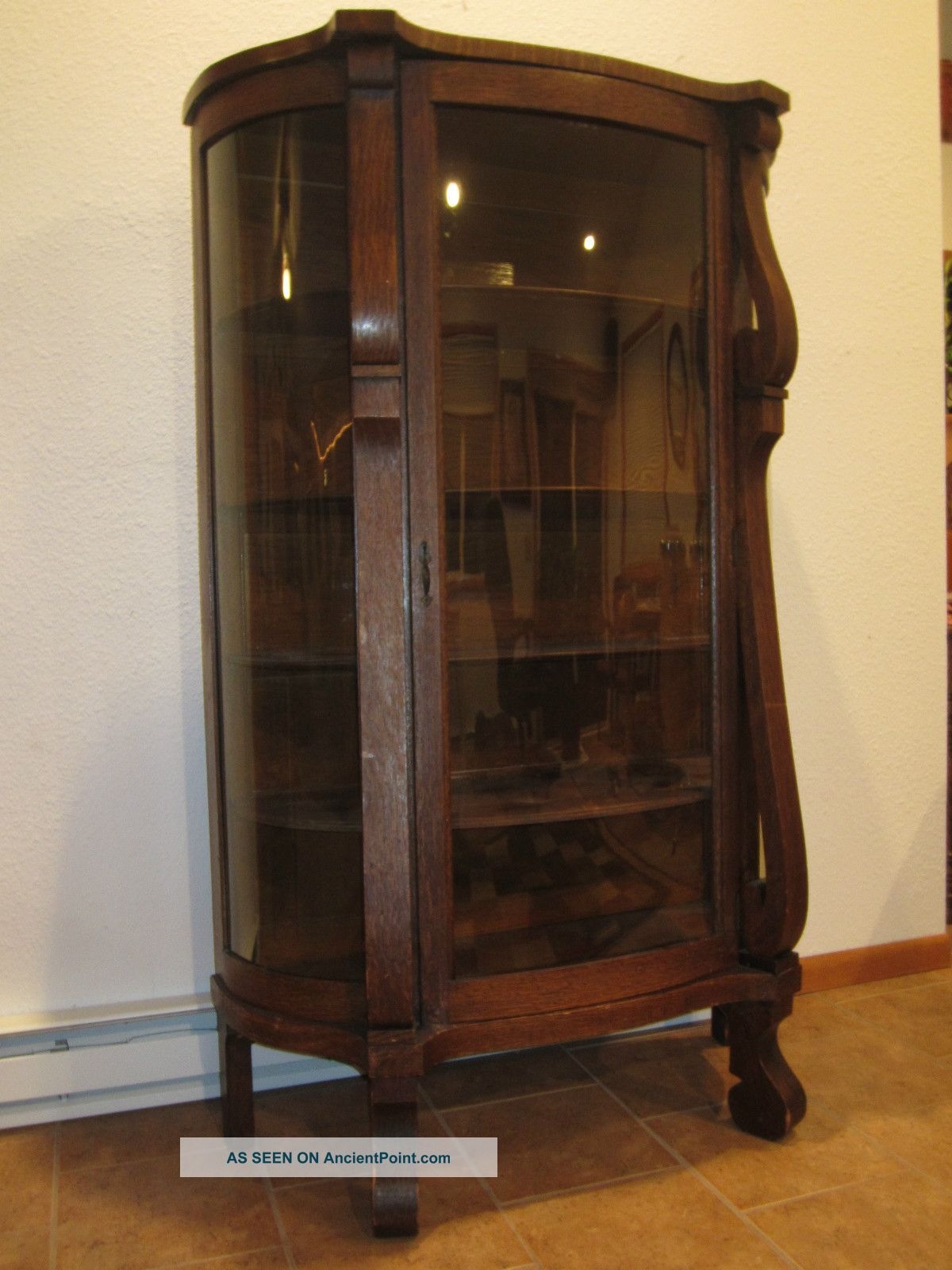 Antique Bowfront Oak China Curio Cabinet Glassware - Ebert Furniture Co. Antique Bowfront Oak China Curio Cabinet