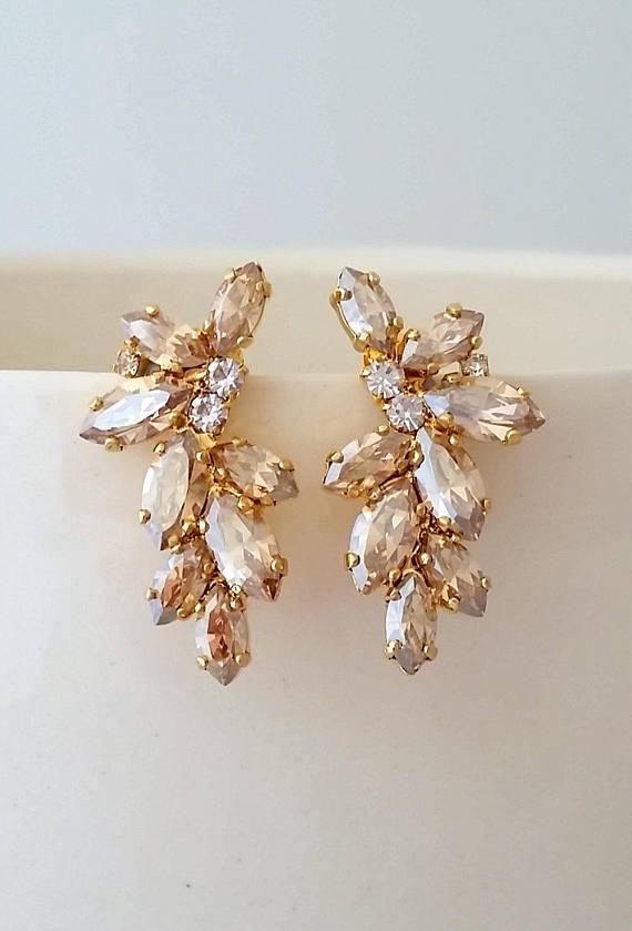 Bridal Earrings Champagne Swarovski Crystal Cer Studs Vintage Gatsby