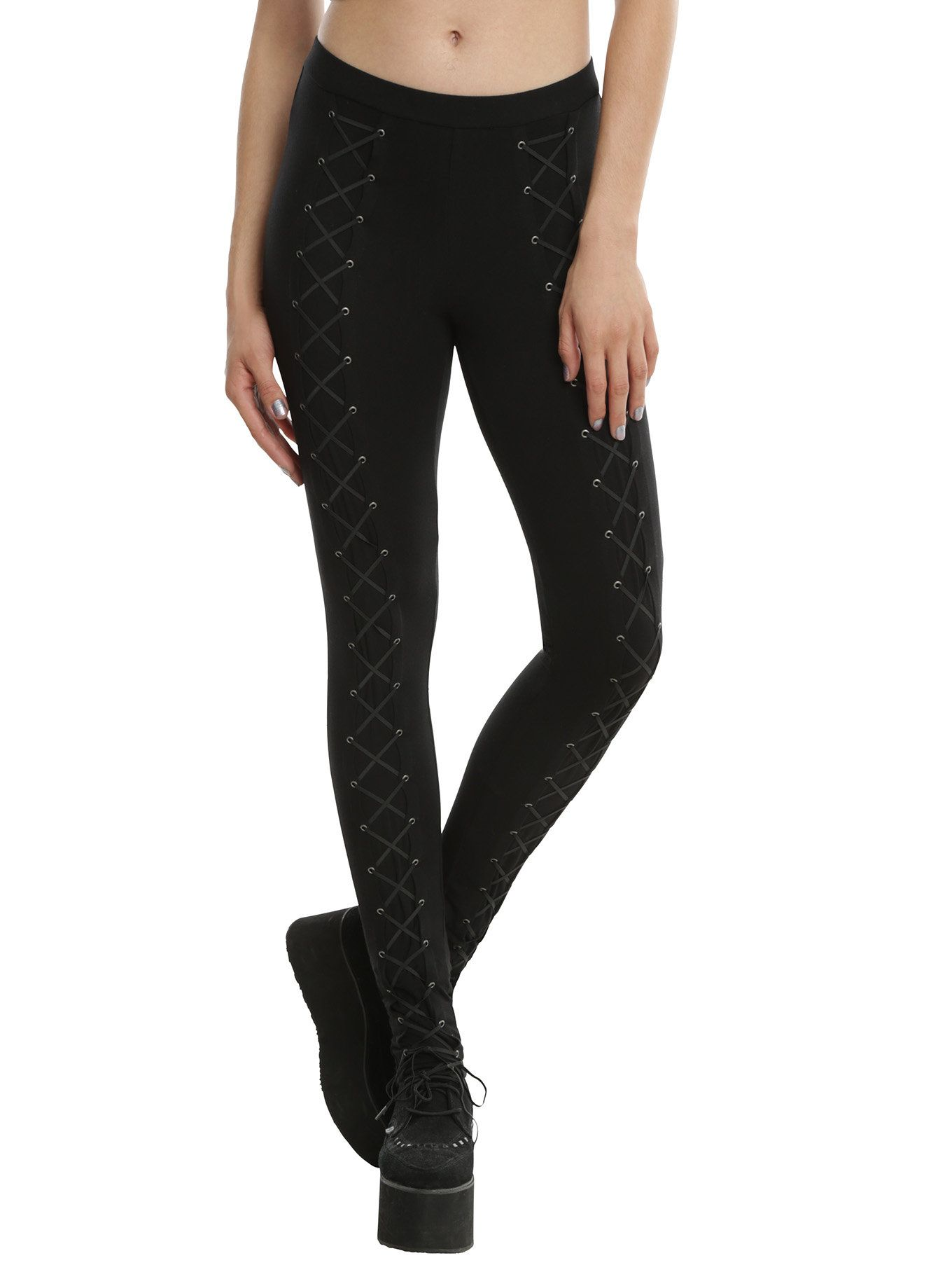 b3d3beb43bd93 So serious, in fact, that these leggings are about to become a staple in  your wardrobe. Black leggings from Blackheart with front lace-up details  from ankle ...