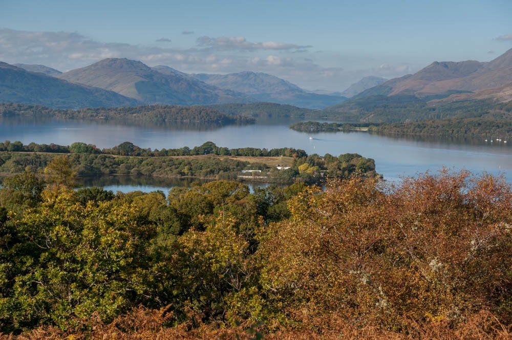 A series of Loch Lomond Scenic Canvas Wraps each with a scene of beautiful Loch Lomond. This one shows the autumn view from Inchcailloch Island.