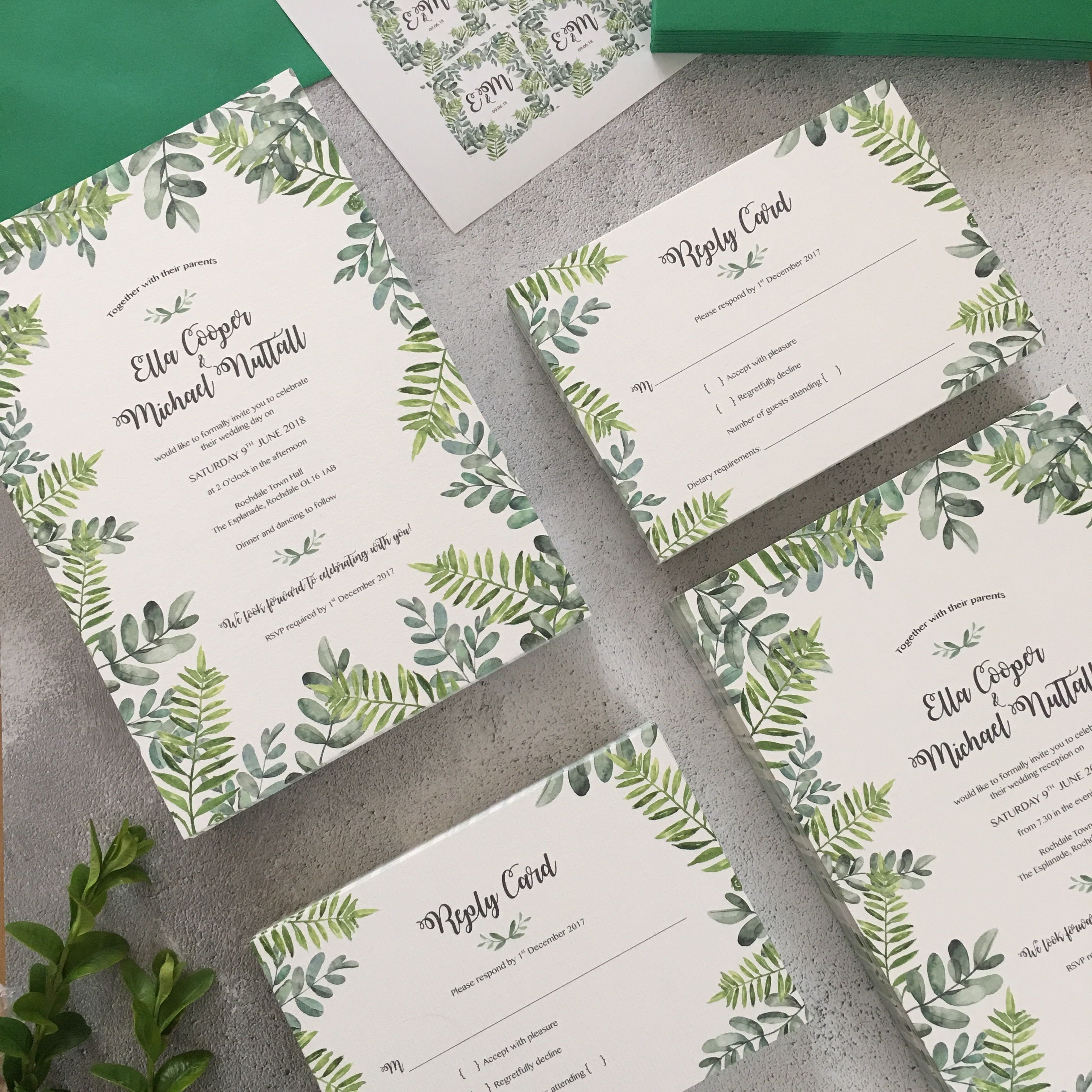Luxury wedding invitation suite with a watercolour botanical leaf ...