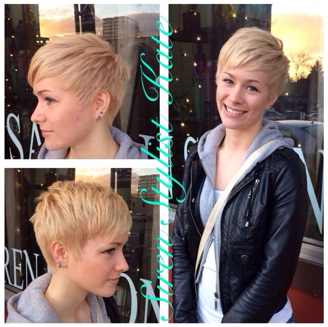 Kenzie's Blonde Pixie Cut & Color -Hair by Siren Kate @ Siren Salon