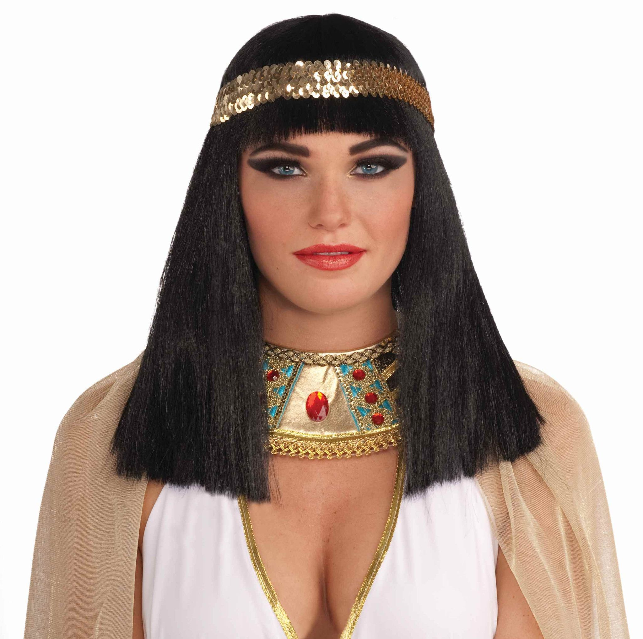 Black Cleopatra Adult Costume Wig With Headband in Halloween