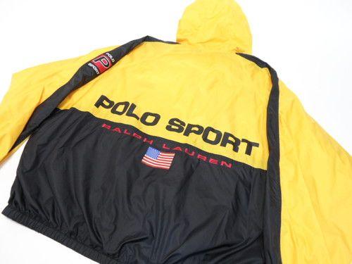 ec425bf35f VTG 90's POLO SPORT RALPH LAUREN USA Black Yellow Zip Jacket XL | eBay