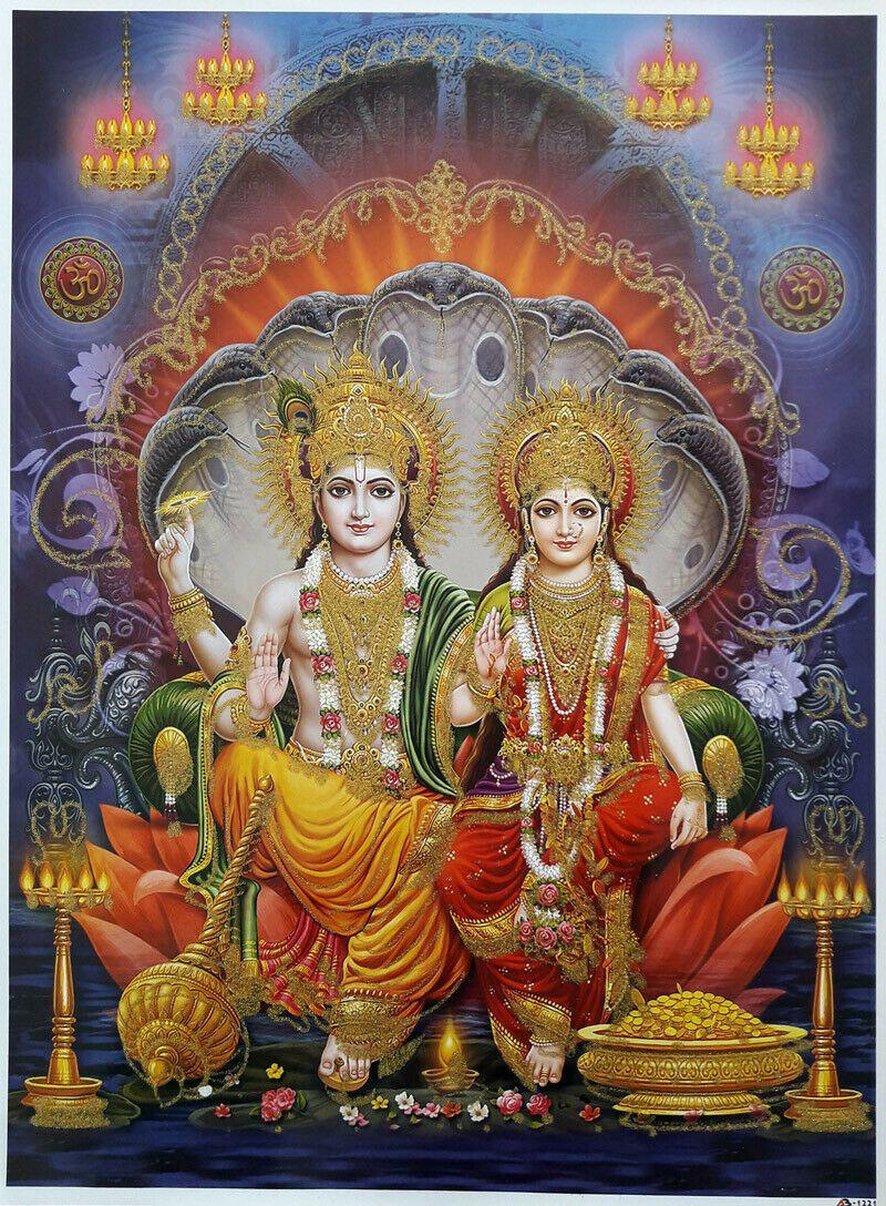 12x16 Inch Poster Lord Vishnu Devi Lakshmi, Golden Effect