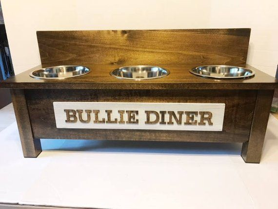 Rustic Wooden Dog Dish Stand 3 Bowl Feeder