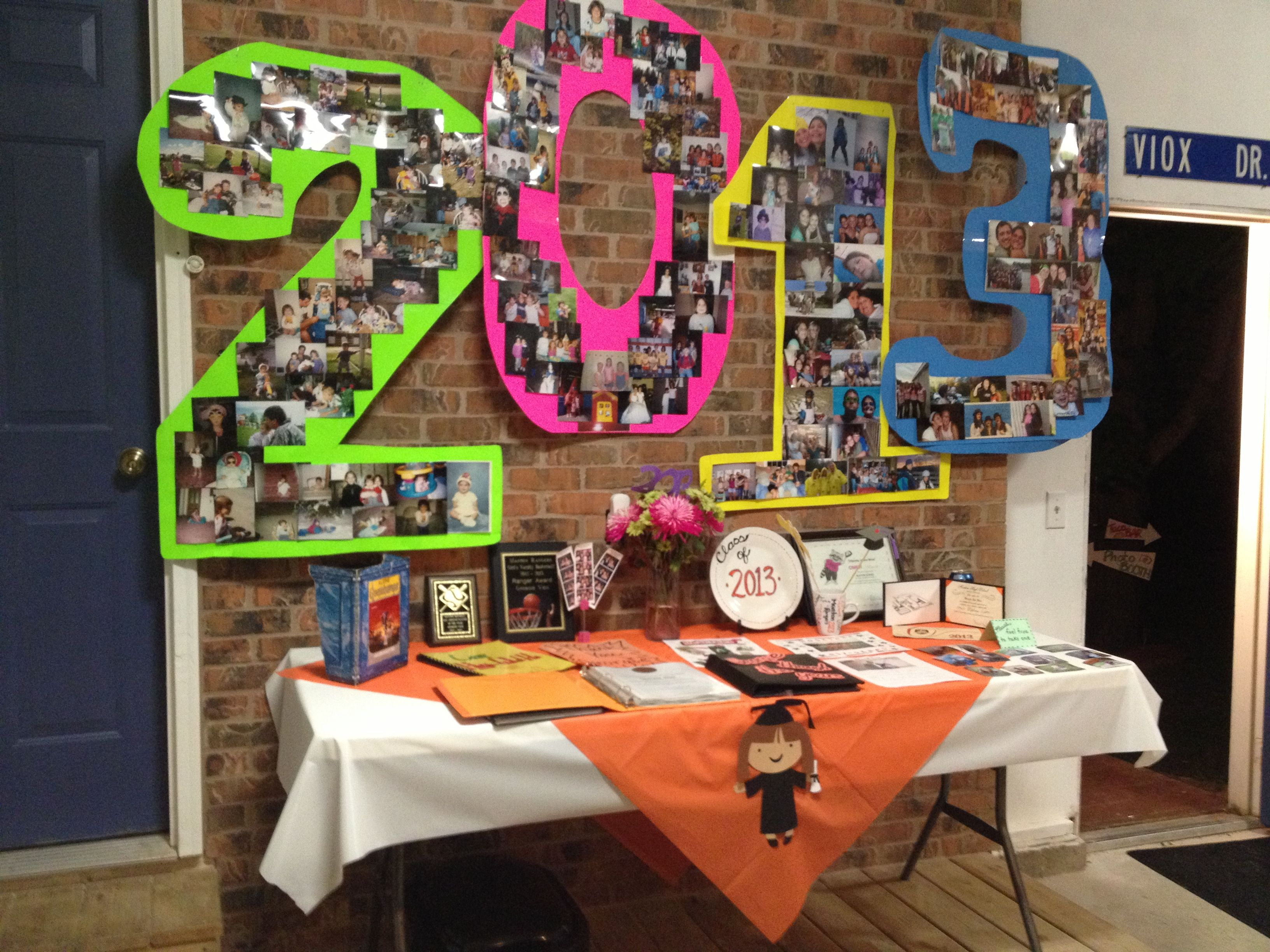 graduation party ideas for decoration .from left to right fill each number with fresh soph jr u0026 senior year. lol (use school colors of poster board) & Graduation party decorations. The numbers are created out of ...