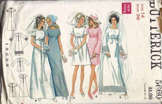 Vintage wedding dress pattern empire waist bridal by for Empire waist wedding dress patterns