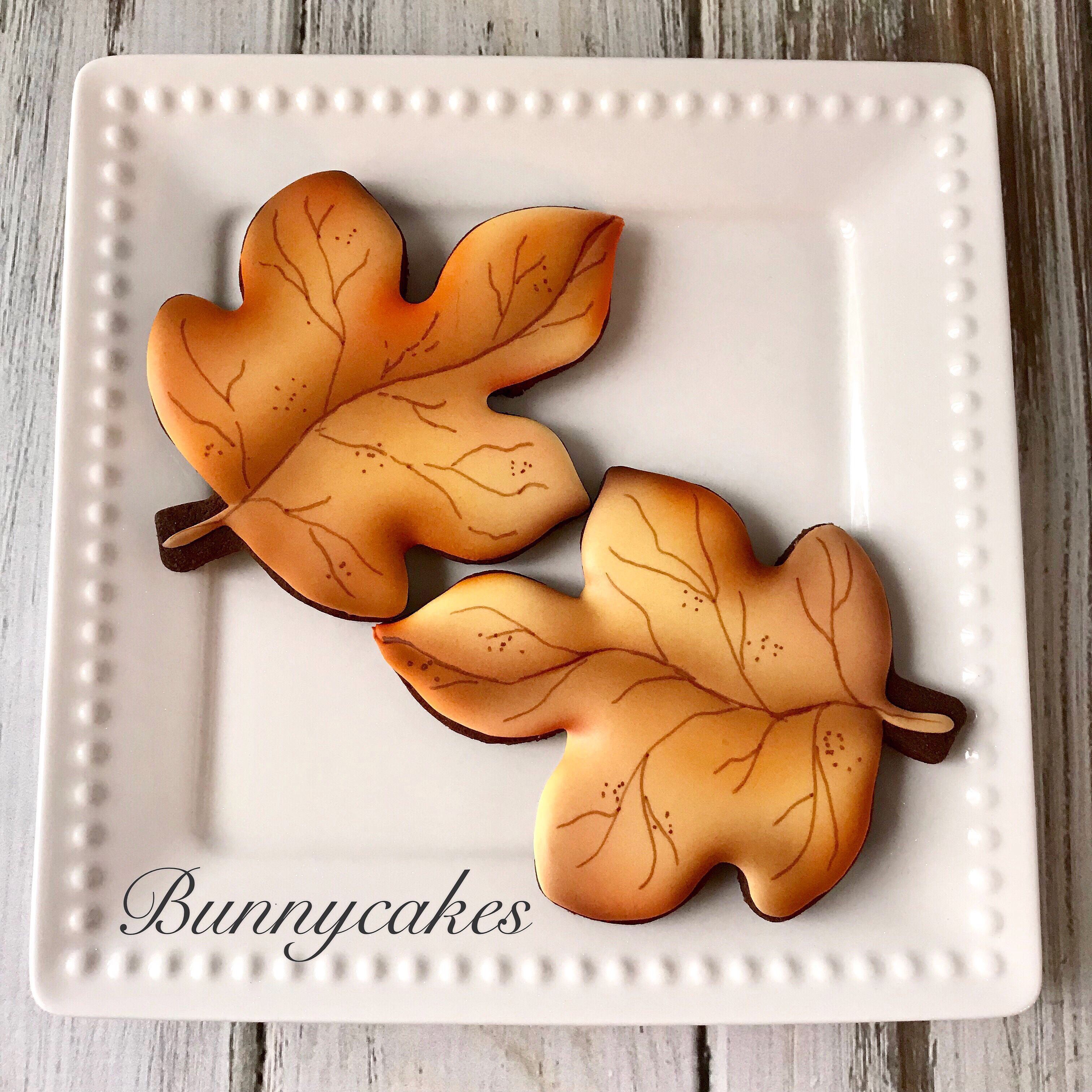 Fall leaf sugar cookie with all the beautiful colors of fall