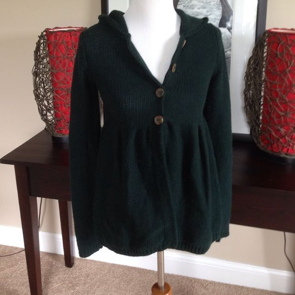 Hunter green sweater Hooded button down sweater. Sonoma Sweaters