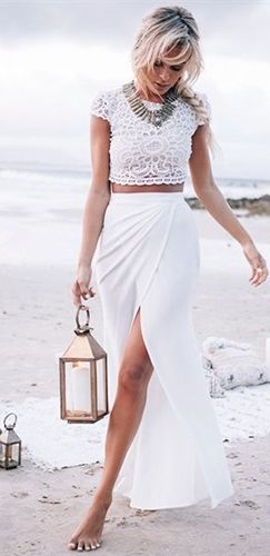 Indie XO Beach Please White Lace Two Piece Maxi Skirt Lace Crochet ...