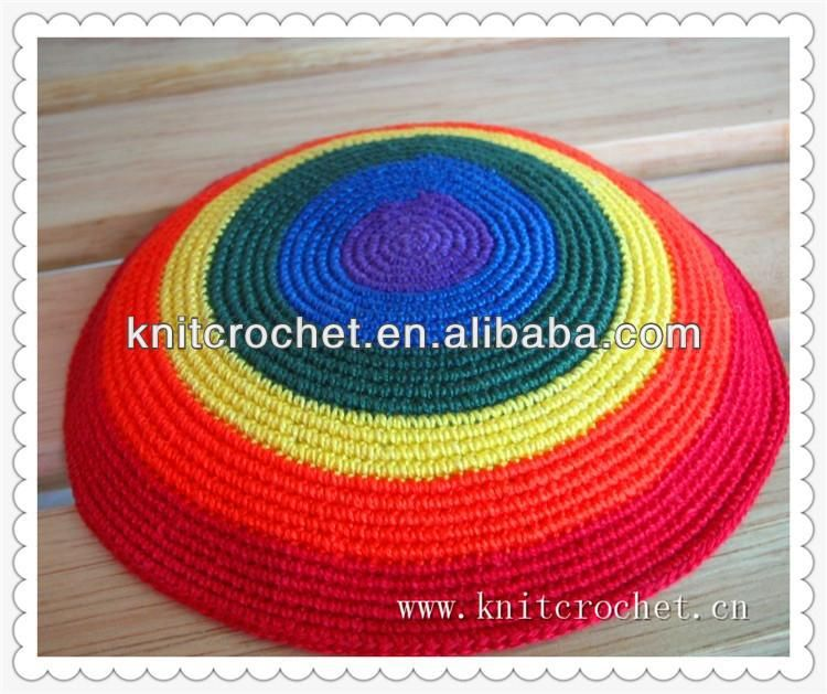 Customized Hand Crochet Rainbow Kippah,Knitted Kippot - Buy Knitted ...