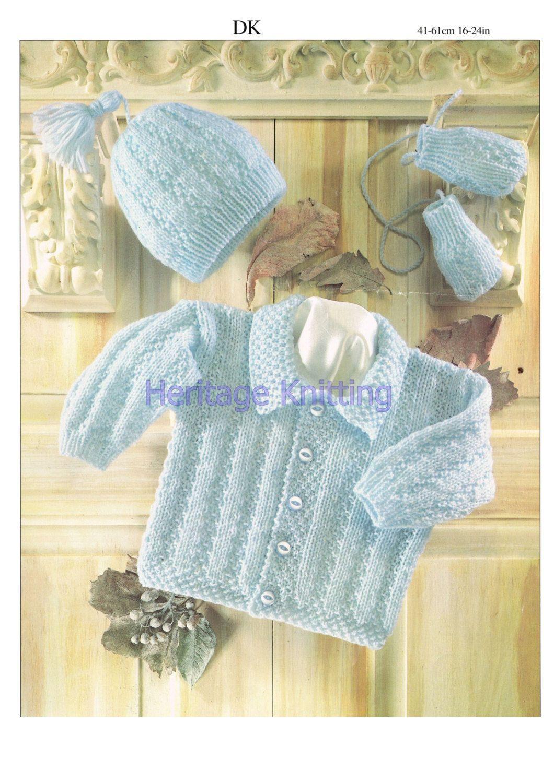 Jacket hat and mittens dk knitting pattern 99p | Pinterest ...