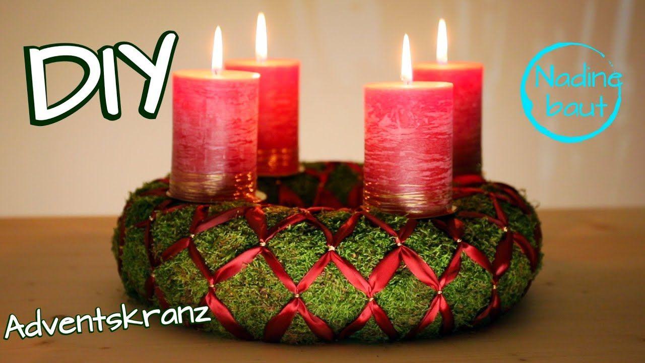 Adventskranz selber machen aus Moos - DIY Weihnachtsdeko - Weihnachtskranz binden