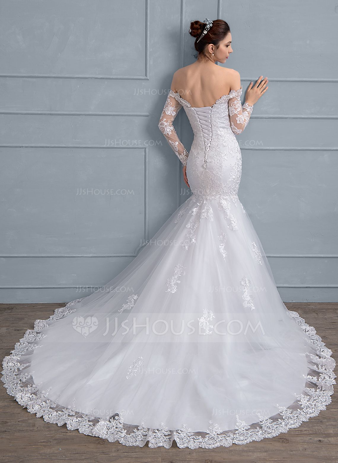 Us 315 00 Trumpet Mermaid Off The Shoulder Chapel Train Tulle Lace Wedding Dress With Beading Sequins Jj S House Wedding Dresses Celebrity Wedding Dresses Unique Wedding Gowns [ 1562 x 1140 Pixel ]