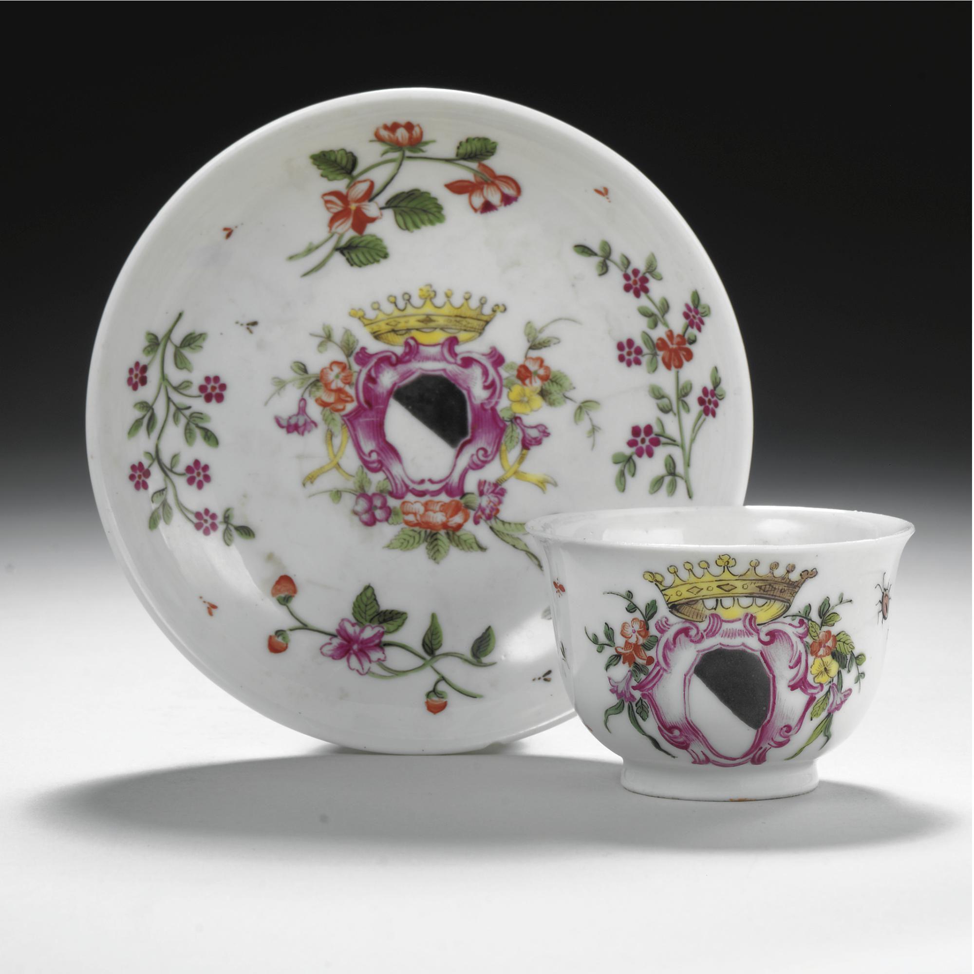 A Doccia Porcelain Armorial Cup And Saucer Circa 1750 1755