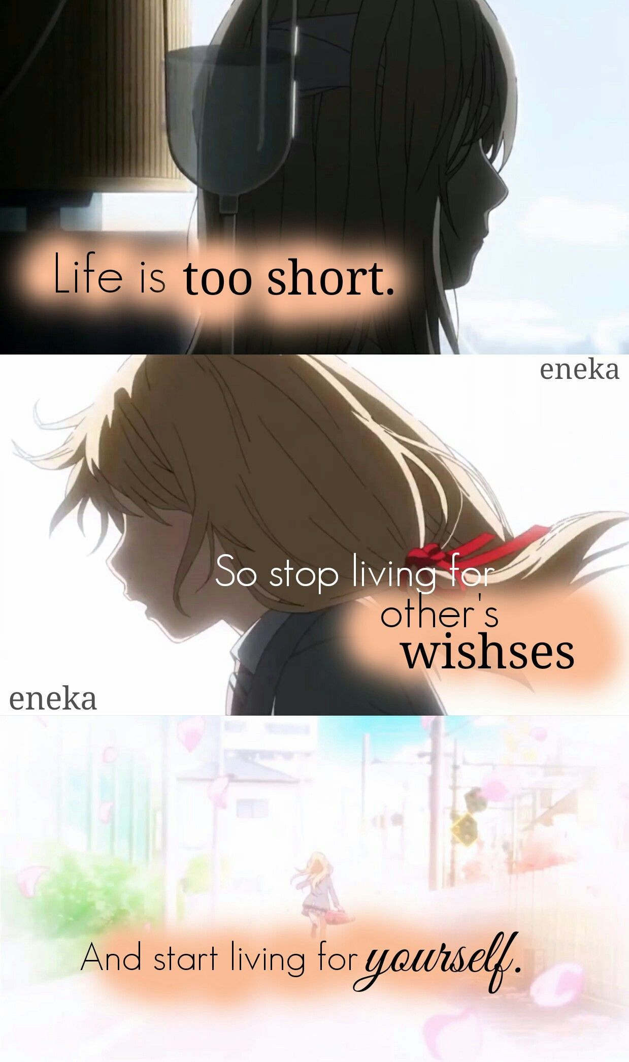 Anime Your lie in April Editor eneka Anime Quotes