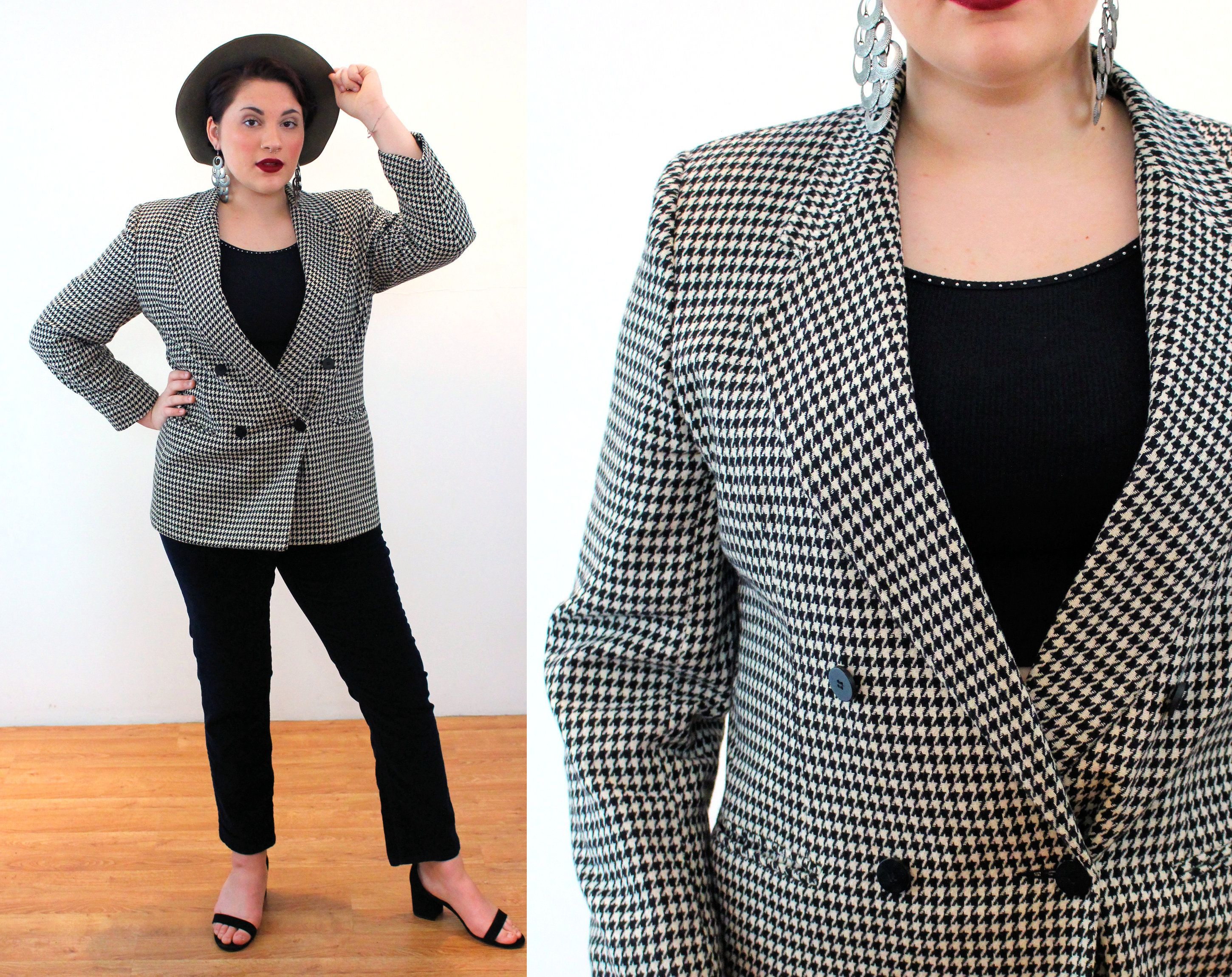 White Brown Checkered Jacket Women Jacket  Houndstooth Pattern Blazer  Button Up Business Jacket  Vintage 90s style  Padded Shoulders