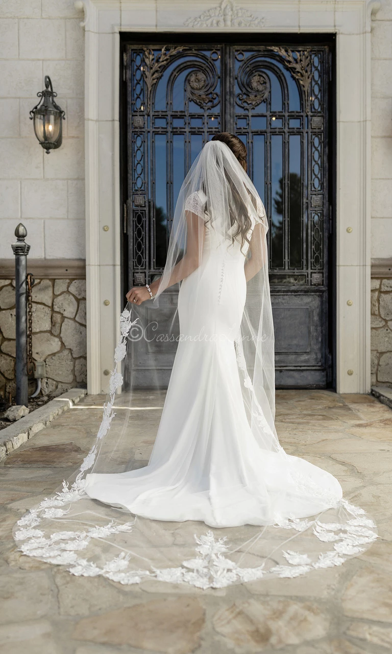 Cathedral Veil with Lace Pearl Beaded Flowers Cathedral