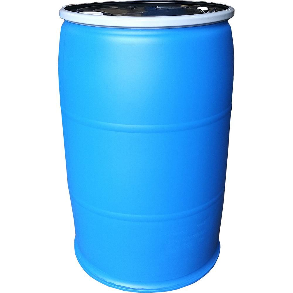 Earthminded 55 Gal Open Top Plastic Industrial Drum With Lid And Lock Band Off Color Pfr55 Oc The H Rain Barrel Rain Barrel System Plastic Barrels For Sale