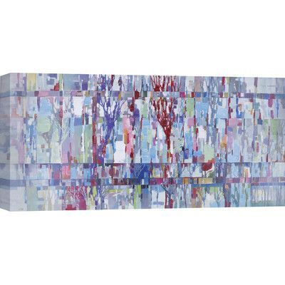"""Hobbitholeco. 30"""" H x 60"""" W Ready to Hang, Abstract Hand Painted 'Colorful Trees' by Anastasia C. Wall Art on Wrapped Canvas"""