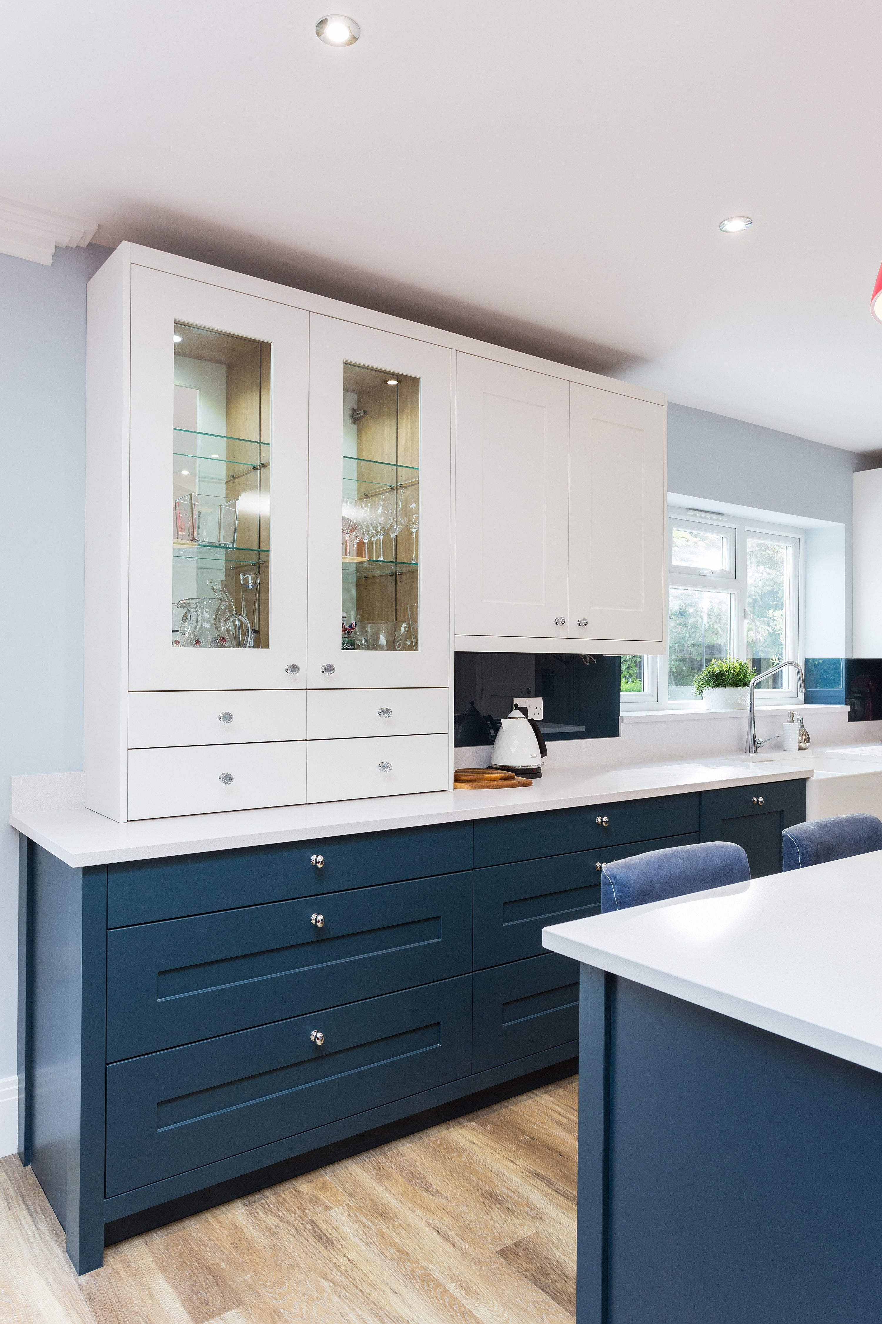 Painted Blue And Chalk Fitzroy In Frame Kitchen With Large Island