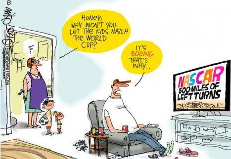 Hilarious Soccer Jokes World Cup Soccer Football Cartoon Us Fan And Nascar Nascar Funny Soccer Memes Soccer Jokes