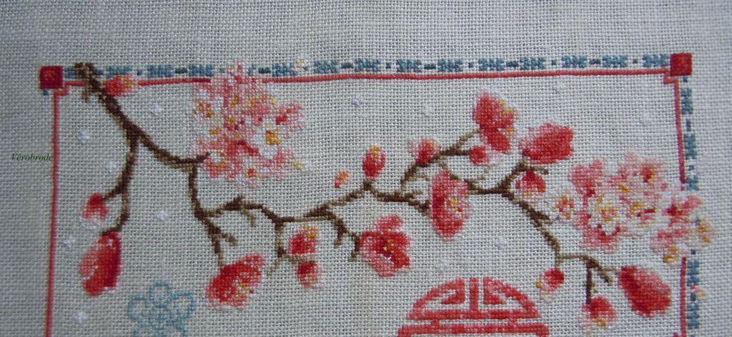 Fleurs de Prunier et Oiseaux Kit Point de Croix