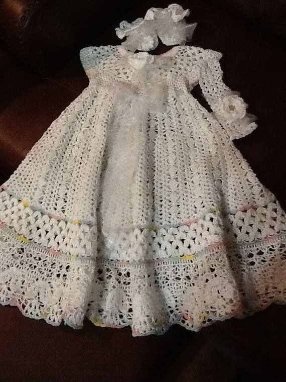 Crochet yoked interchangeable flower christening gown pattern ...