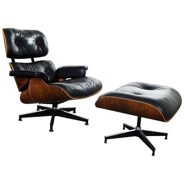 Vintage Eames Lounge Chair & Ottoman In Black Leather