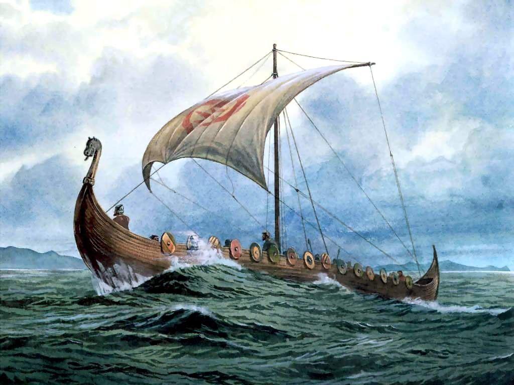 Canvas Sailing Viking Longship Replica Art Print POSTER