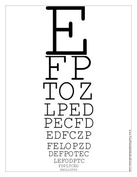 This Printable Snellen Eye Chart Has 11 Lines Of Letters In Decreasing Size To Be Used