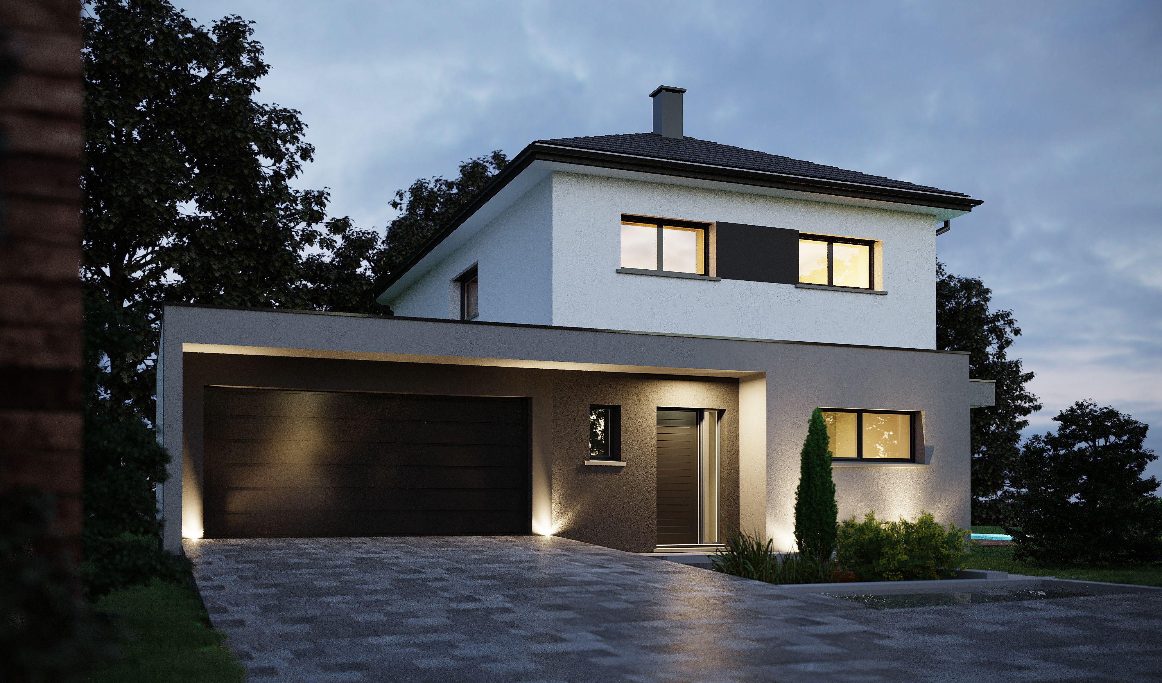 Maison moderne Type R+1, alliant toiture 4 pans et toit plat