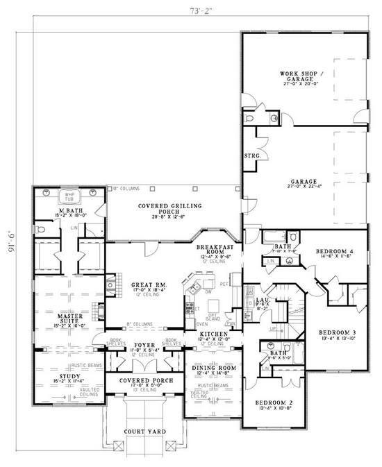 House Plan 110 00777 European Plan 2 788 Square Feet 4 Bedrooms 3 5 Bathrooms In 2021 Tuscan House Plans House Plans One Story Dream House Plans