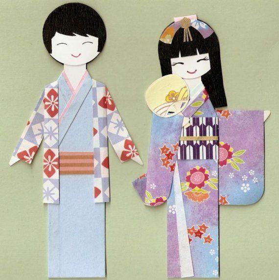 Chiyogami yuzen paper dolls paper japanese kokeshi doll kokeshi paper doll japanese washi paper dolls sakura cute kawaii kokeshi doll