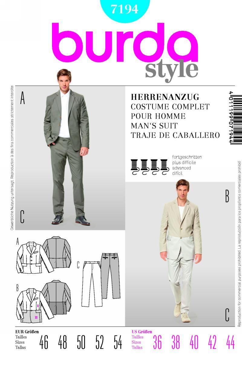 Burda 7194 from Burda patterns is a Men\'s suit sewing pattern ...