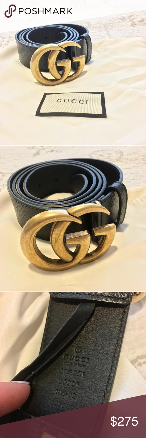 GUCCI Double G Black Leather Belt , Size 142 Women Classic