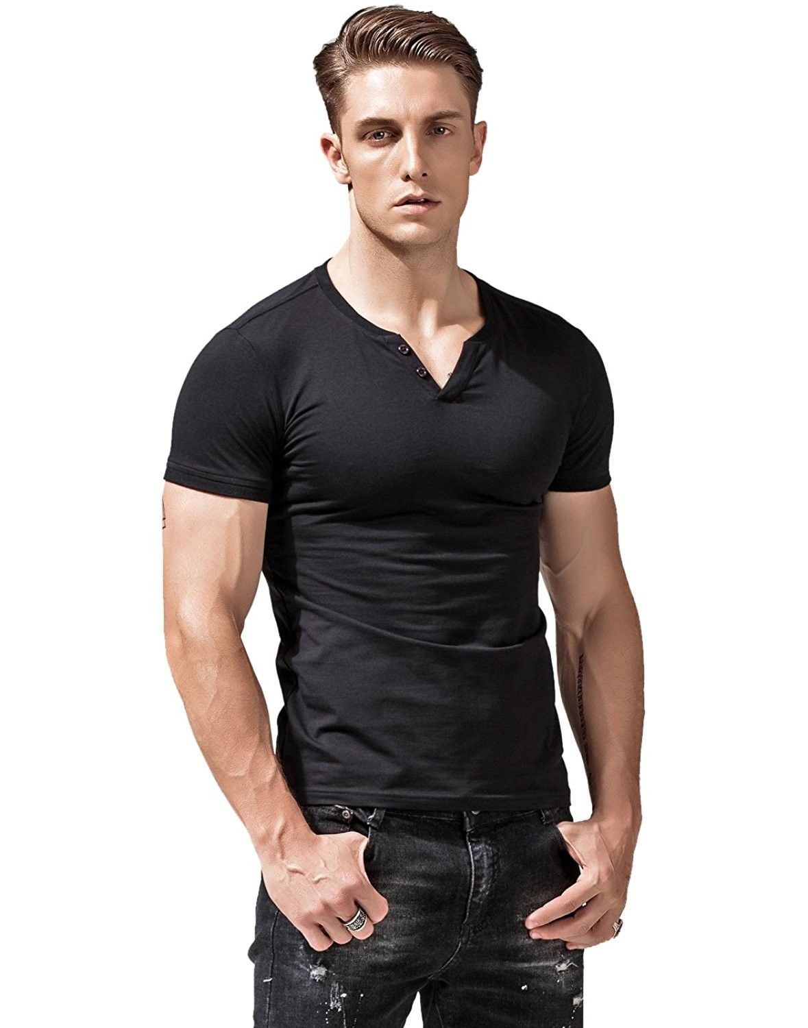 hot Men/'s V-Neck Slim Fit T-shirts Contrast Casual shirt Short Sleeve Outfit Top