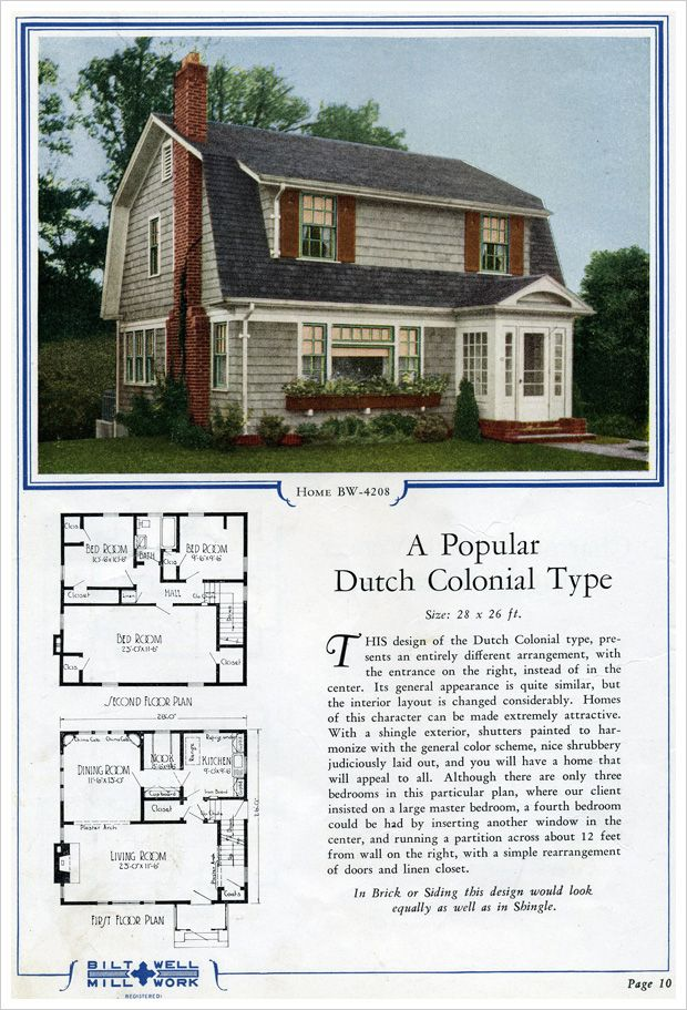 1920s Dutch Colonial Bilt Well Catalog No 42 Dutch Colonial Homes Vintage House Plans Colonial House