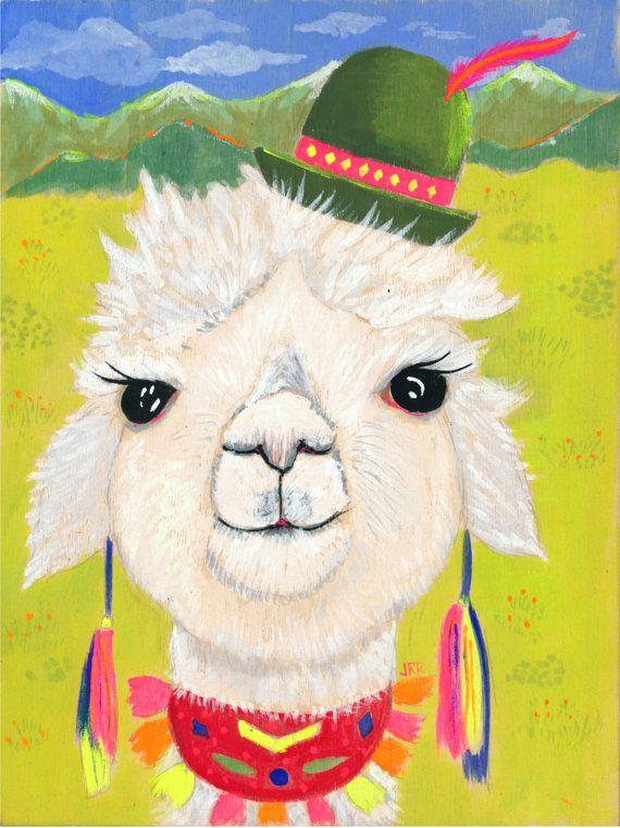 02b2d579144 Alpaca Llama wearing hat Andes Peruvian Art Print Fantasy